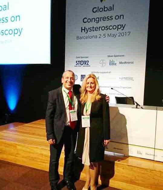 Dra Cañete y Dr. Haimovich (Presidente del Congreso Mundial de Histeroscopia Barcelona 2017)